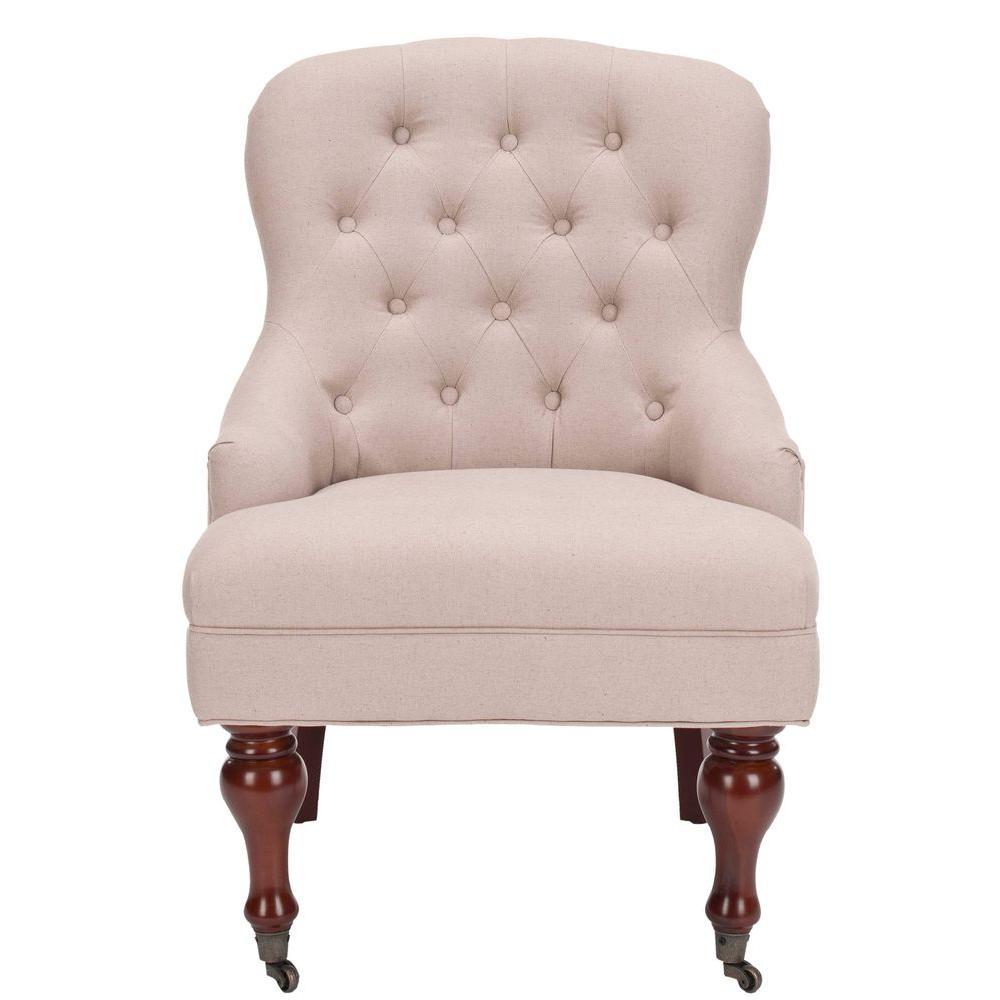 Safavieh Falcon Taupe/Cherry Mahogany Linen Arm Chair
