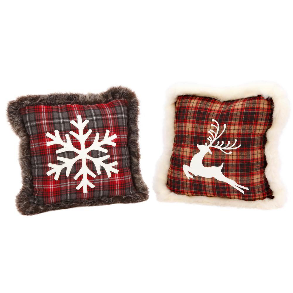 S/2 Asst Plush Plaid Pillows