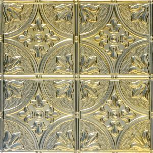 From Plain To Beautiful In Hours Tiptoe 2 Ft X 2 Ft Nail Up Tin Ceiling Tiles In Gold Nugget 48 Sq Ft Box Skpc309 Gn 24x24 N 12 The Home Depot