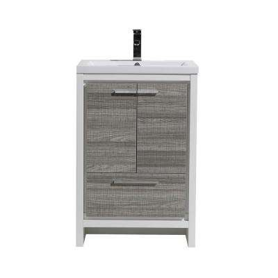 Dolce 23.5 in. W Bath Vanity in High Gloss Ash Gray with Reinforced Acrylic Vanity Top in White with White Basin