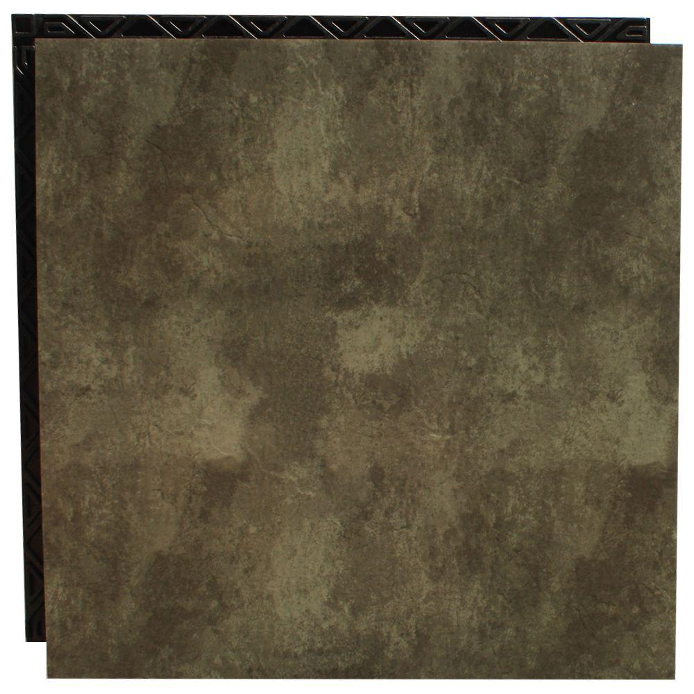 Place N' Go Forest Green 18.5 in. x 18.5 in. Interlocking Waterproof Vinyl Tile with Built-In Underlayment-DISCONTINUED