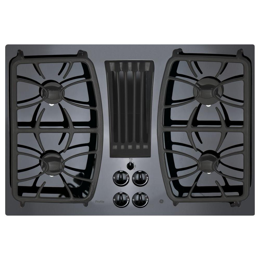 Profile 30 in. Gas-on-Glass DownDraft Gas Cooktop in Black with 4