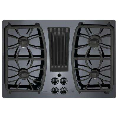 Profile 30 in. Gas-on-Glass DownDraft Gas Cooktop in Black with 4 Burners