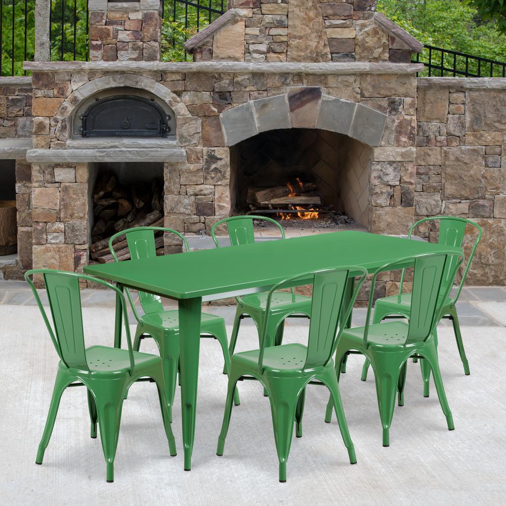 Carnegy Avenue Green 7-Piece Metal Rectangle Outdoor Bistro Set