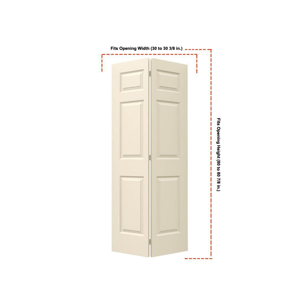 30 in. x 80 in. Colonist Primed Smooth Molded Composite MDF Closet Bi-Fold Door