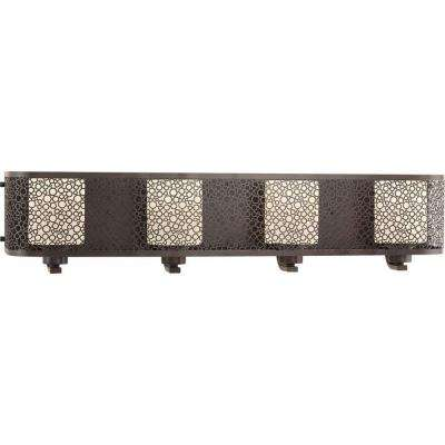 Mingle Collection 4-Light Antique Bronze Bathroom Vanity Light with Glass Shades