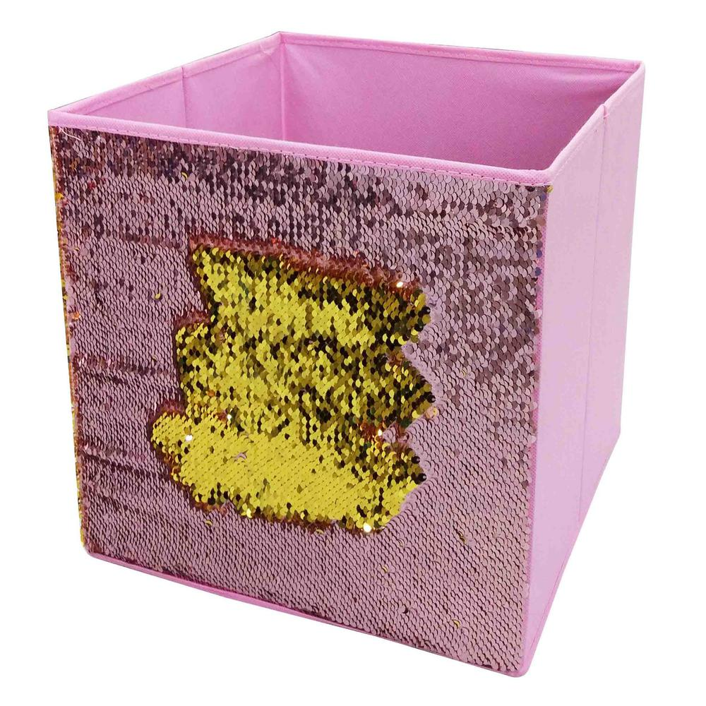 Home Basics 12 in. x 12 in. Pink Linen and Sequin Storage Bin
