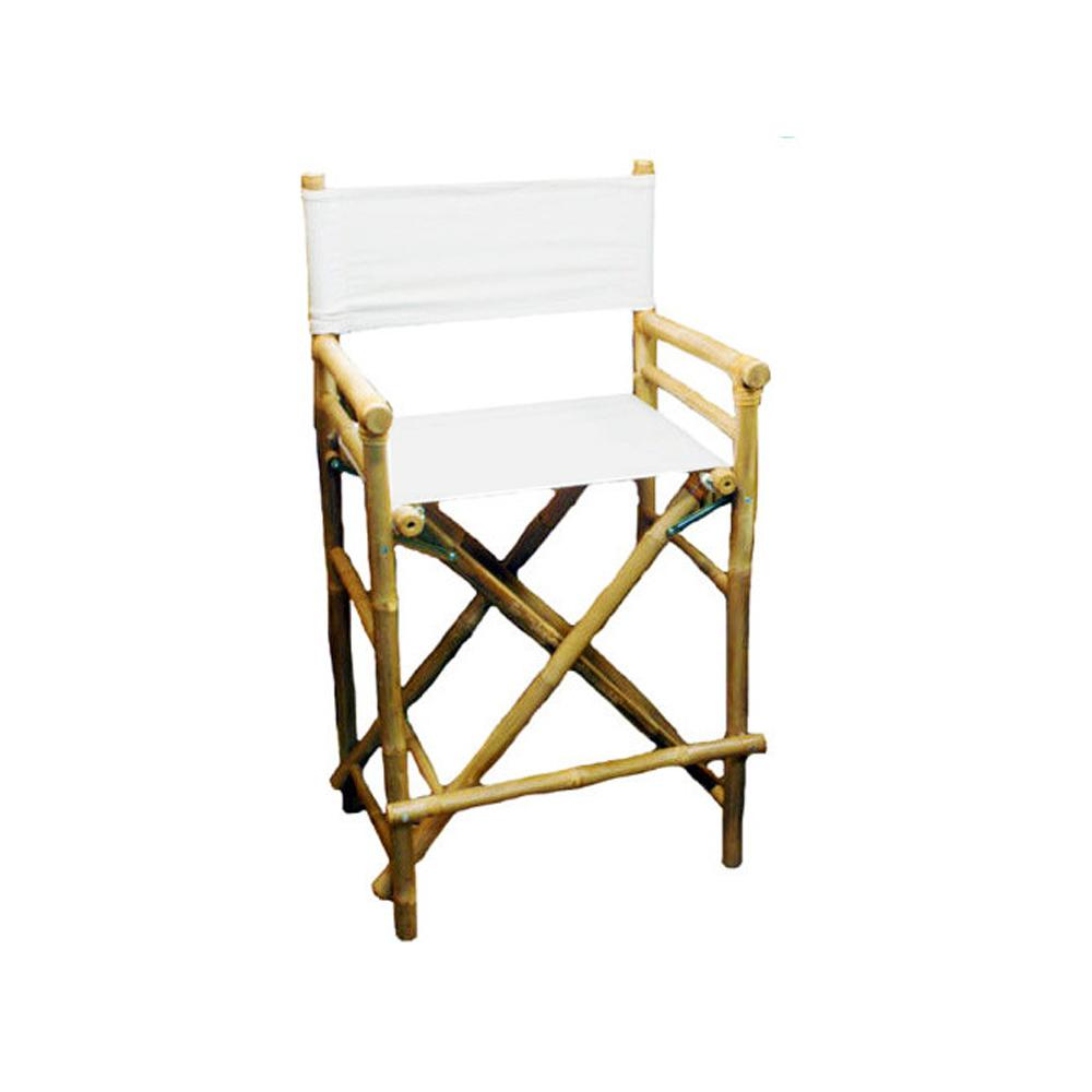 19 in. L x 23 in. W x 43 in. H Tall Bamboo Director Chairs, White Canvas (Set of 2)