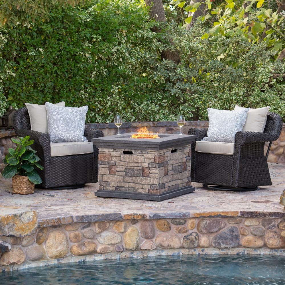 Noble House Gunnar 3-Piece Wicker Patio Fire Pit Conversation Set with Beige Cushions