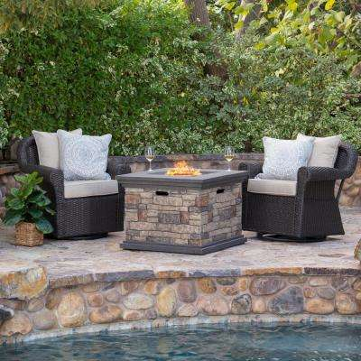 Gunnar 3-Piece Wicker Patio Fire Pit Conversation Set with Beige Cushions