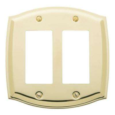 Colonial 2 Rocker Wall Plate - Polished Brass