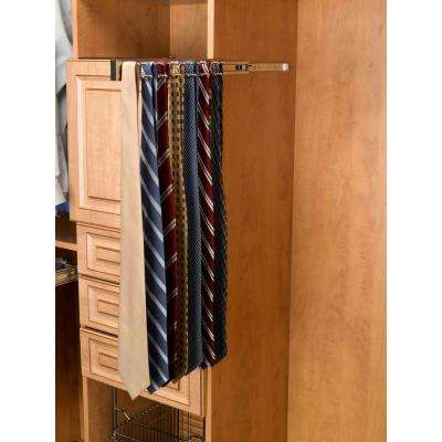 2.42 in. H x 2.42 in. W x 12 in. D Satin Nickel Pull-Out Side Mount Tie Rack