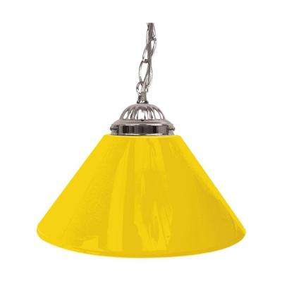 14 in. Single Shade Yellow and Silver Hanging Lamp