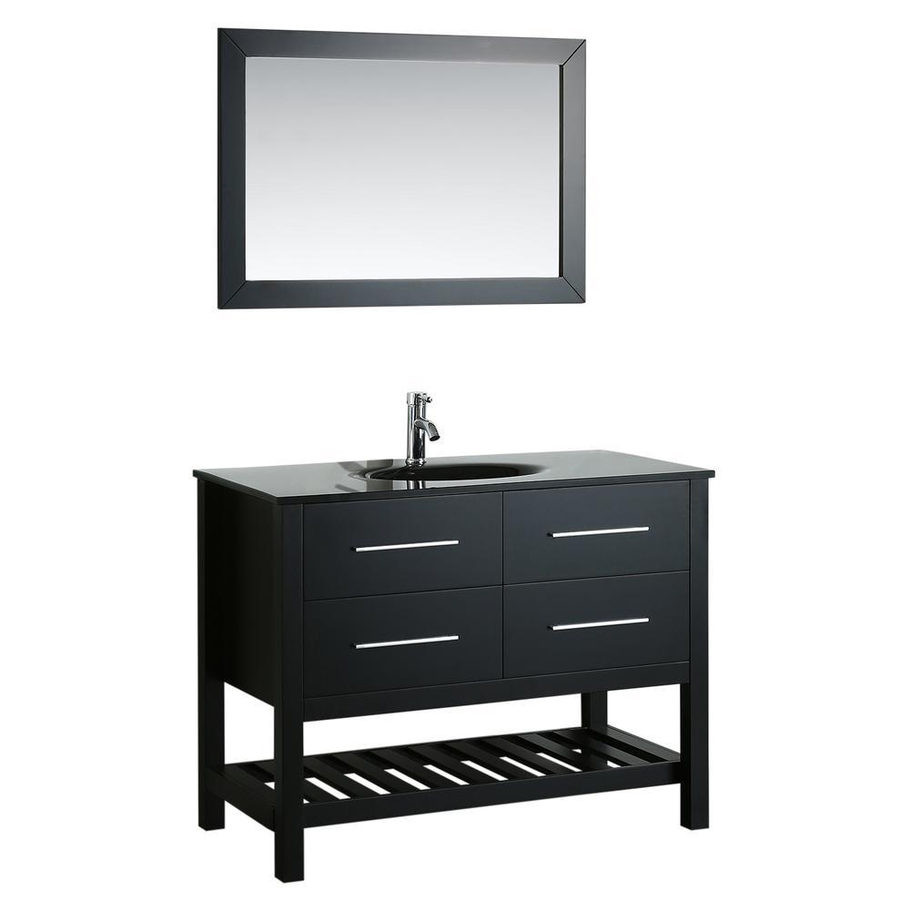 Bosconi Bosconi 43 in. Single Vanity in Black with Vanity Top in Black, Black Basin and Mirror