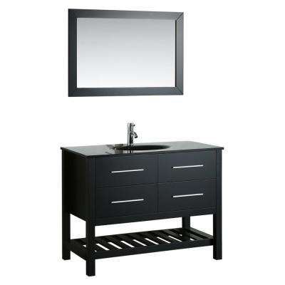 Bosconi 43 in. Single Vanity in Black with Vanity Top in Black, Black Basin and Mirror