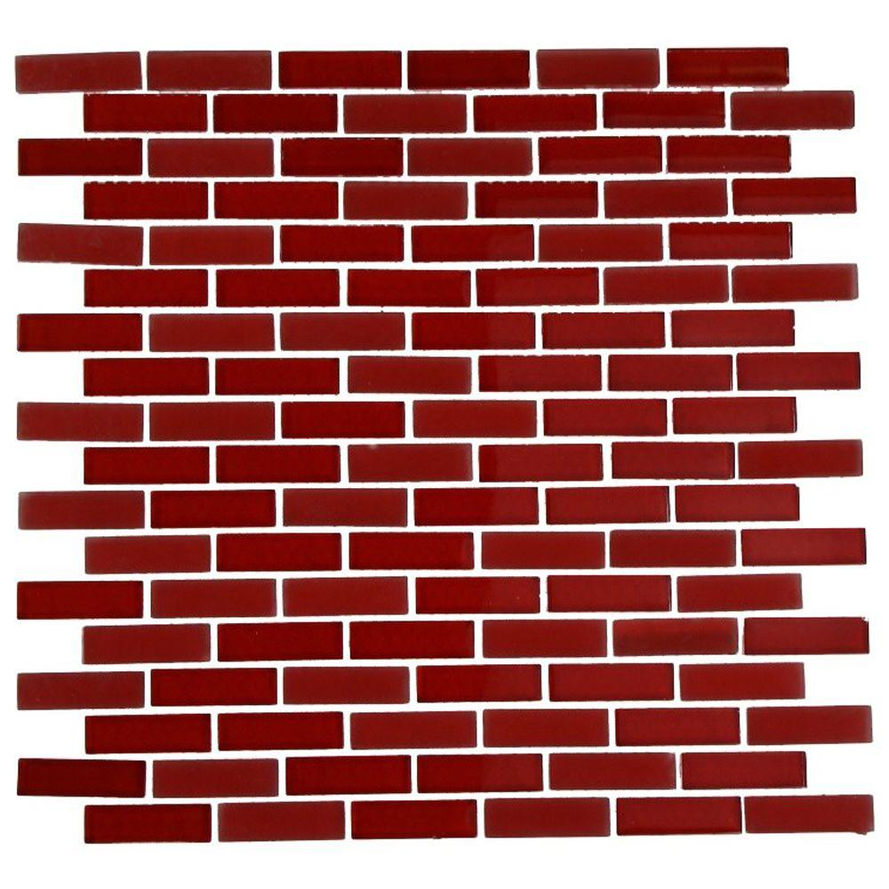 Splashback Tile Contempo Lipstick Red Brick 12 in. x 12 in. x 8 mm Glass Mosaic Floor and Wall Tile