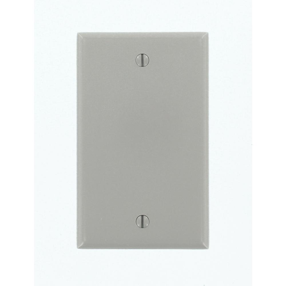 1-Gang Blank Wall Plate, Gray