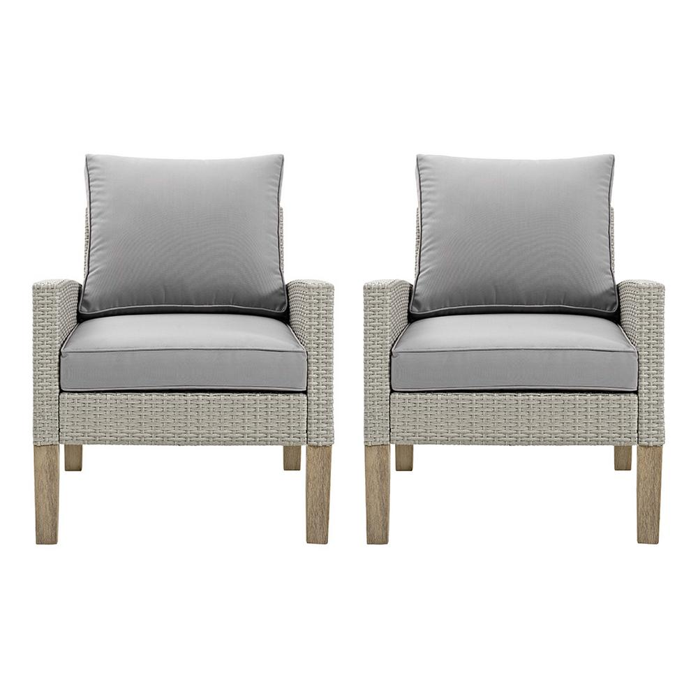 Astounding Walker Edison Furniture Company Brown Removable Cushions Wood Outdoor Patio Lounge Chairs Set With Gray Cushions 2 Pack Caraccident5 Cool Chair Designs And Ideas Caraccident5Info