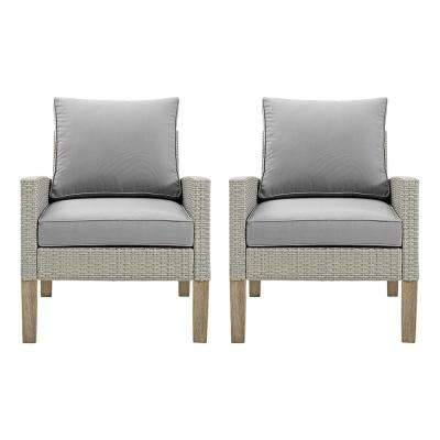 Brown Removable Cushions Wood Outdoor Patio Lounge Chairs Set with Gray Cushions (2-Pack)