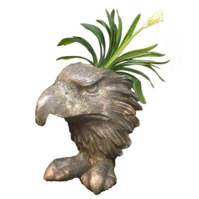 13 in. Graystone Eagle Mascot Muggly Mascot Animal Statue Planter Holds a 5 in. Pot