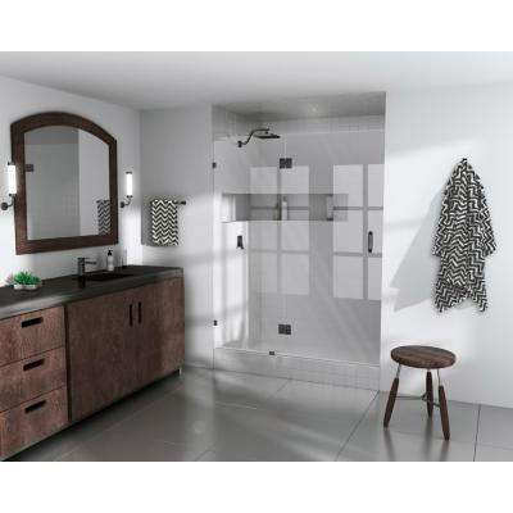 61 in. x 78 in.  Frameless Glass Hinged Shower Door in Oil Rub Bronze