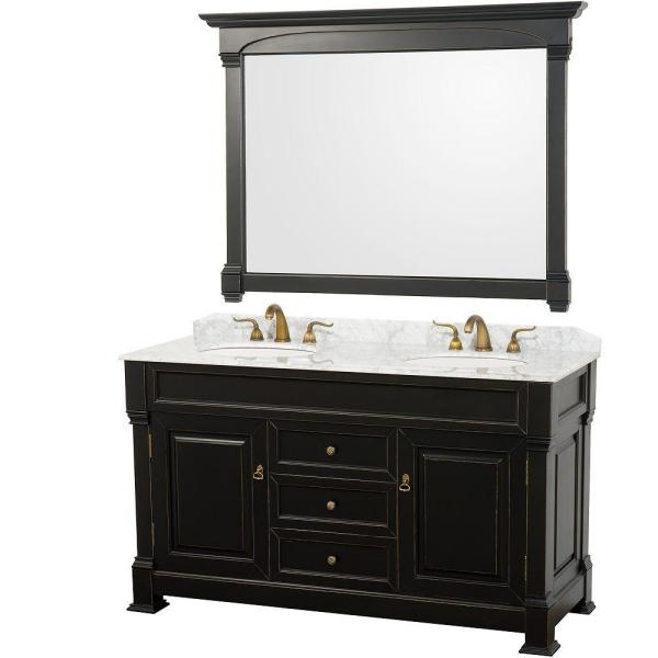 Andover 60 in. Vanity in Antique Black with Double Basin Marble Vanity Top in Carrera White and Mirror
