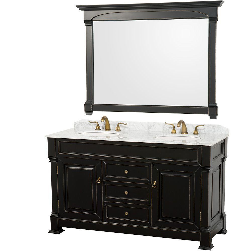 Wyndham Collection Andover 60 In. Vanity In Antique Black With Double Basin  Marble Vanity Top