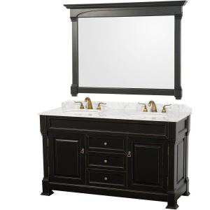 Wyndham Collection Andover 60 inch Vanity in Antique Black with Double Basin Marble Vanity Top in Carrera White and... by Wyndham Collection