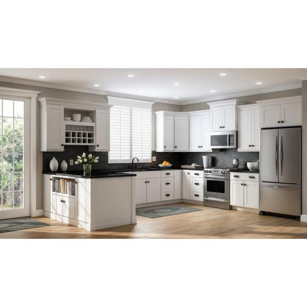 Hampton Bay Shaker Assembled 30x42x12 In Wall Kitchen Cabinet In Satin White Kw3042 Ssw The Home Depot