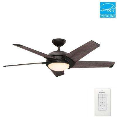 Stealth 54 in. Indoor Aged Steel Ceiling Fan with Universal Wall Control