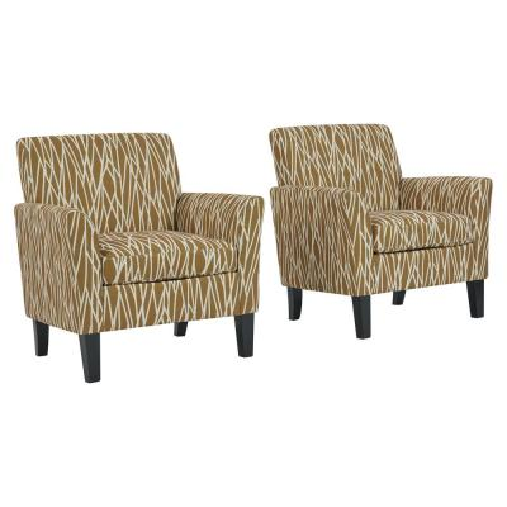 Gold Modern Geometric Maritza Flared Arm Upholstered Chairs (Set of 2)