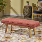 Noble House Reagan Mid-Century Modern Red Fabric Bench with Rubberwood Legs