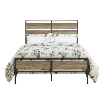 Queen Size Rustic Oak Metal and Wood Plank Bed