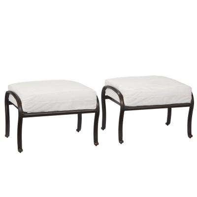 Belcourt Custom Metal Outdoor Ottoman (2-Pack) with Cushions Included, Choose Your Own Color