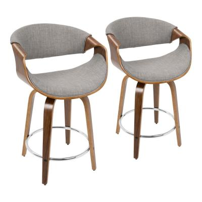 Curvini 24 in. Walnut and Grey Fabric Counter Stool (Set of 2)