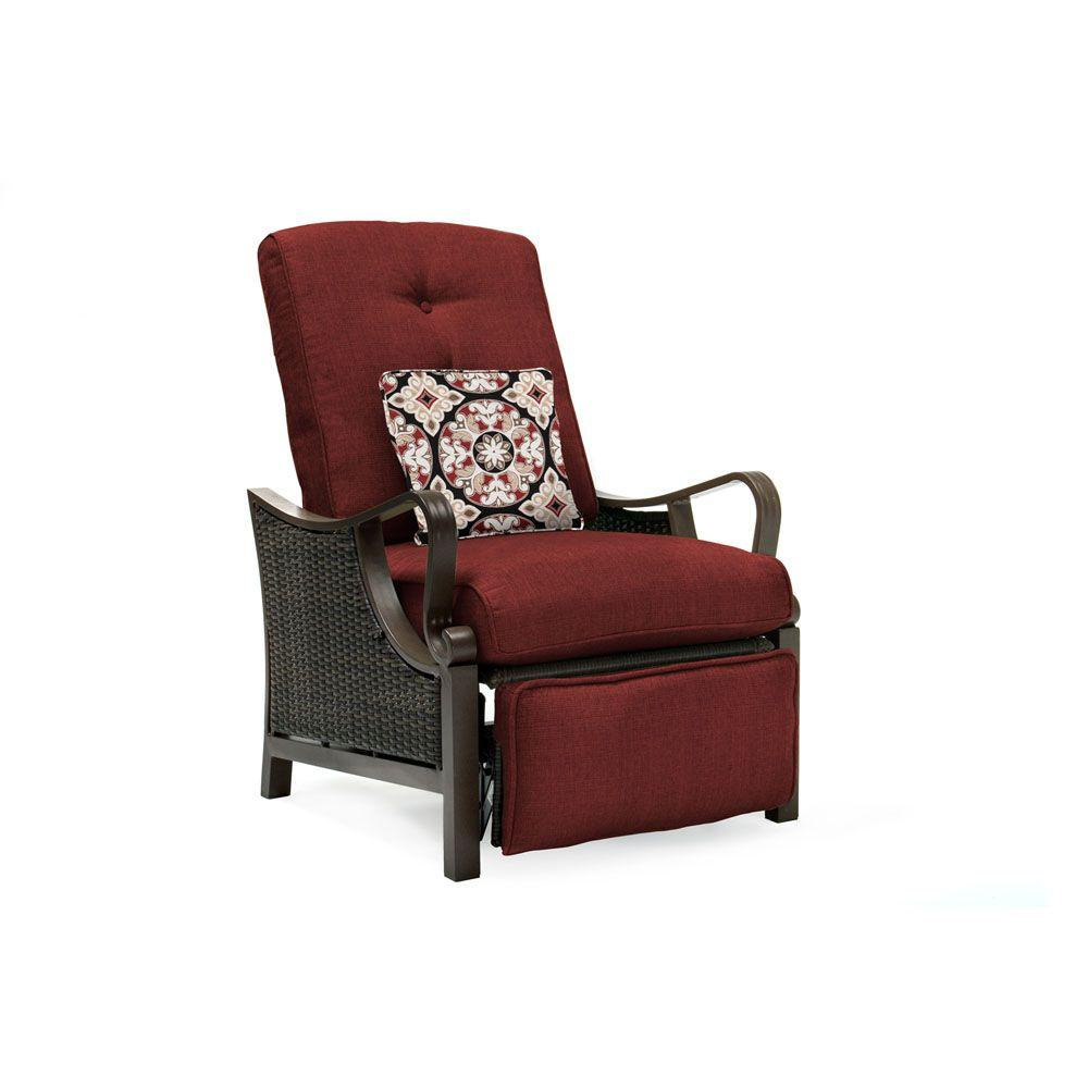 Hanover Ventura All Weather Wicker Reclining Patio Lounge Chair With Crimson Red Cushions