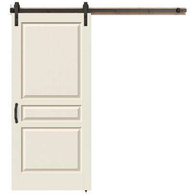 Avalon Primed Smooth Molded Composite MDF Barn Door With