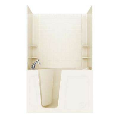 Rampart 5 ft. Walk-in Whirlpool Bathtub with 4 in. Tile Easy Up Adhesive Wall Surround in Biscuit