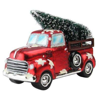 6.75 in. Holiday Moments Red Vintage Truck Hauling a Frosted Tree Christmas Table Top Decoration