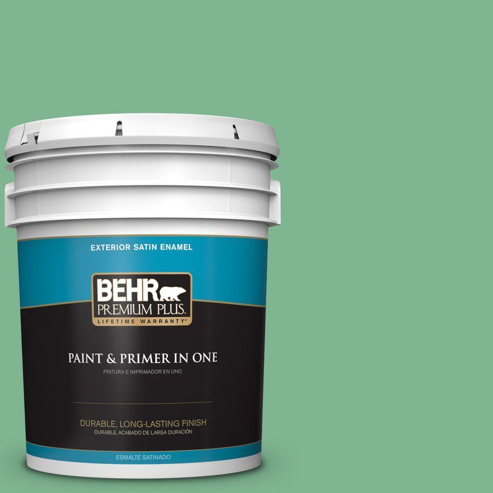 BEHR Premium Plus 5-gal. #BIC-40 Veiled Chameleon Satin Enamel Exterior Paint