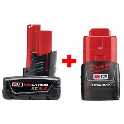 M12 12-Volt Lithium-Ion Extended Capacity Battery Pack Combo W/ 6.0Ah and 3.0Ah Batteries