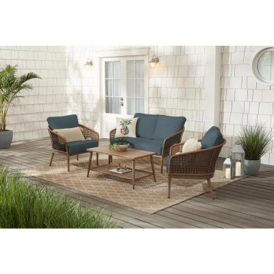 Coral Vista 4-Piece Brown Wicker and Steel Patio Conversation Seating Set with Sunbrella Denim Blue Cushions