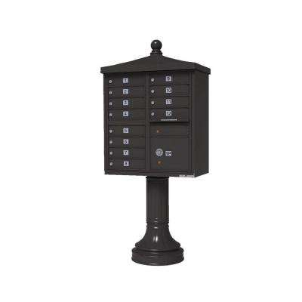 Vital Series 12-Mailboxes 1-Parcel Locker 1-Outgoing Pedestal Mount Cluster Box Unit