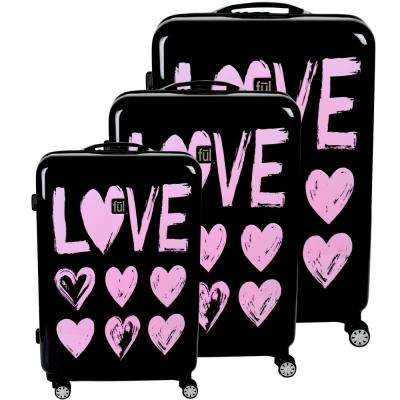Love Hard Sided 29 in., 25 in., and 21 in. 3-Piece Pink Print on Black Luggage Suitcases Set