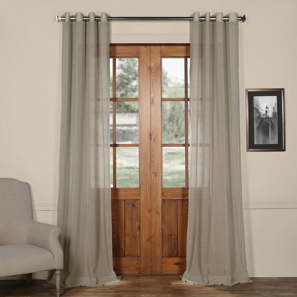 Paris Grommet Solid Faux Linen Sheer Curtain in Grey - 50 in. W x 120 in. L