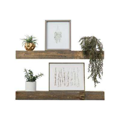 Artisan Haute 4in x 36in x 3.5in Natural Reclaimed Wood Floating Box Set of Two Decorative Wall Shelves