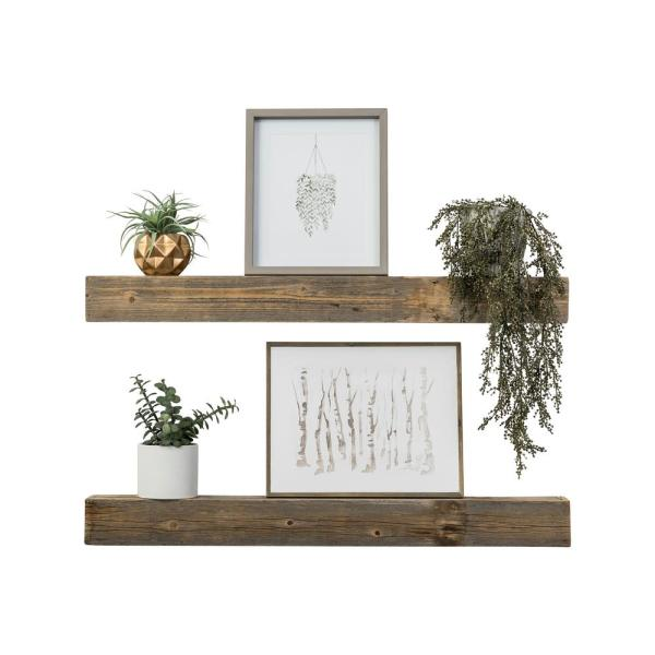 Tremendous Artisan Haute 4In X 36In X 3 5In Natural Reclaimed Wood Floating Box Set Of Two Decorative Wall Shelves Download Free Architecture Designs Rallybritishbridgeorg
