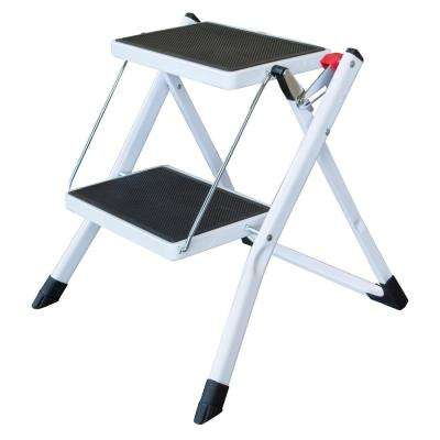 2-Step Steel Folding Mini Step Ladder with 225 lbs. Load Capacity