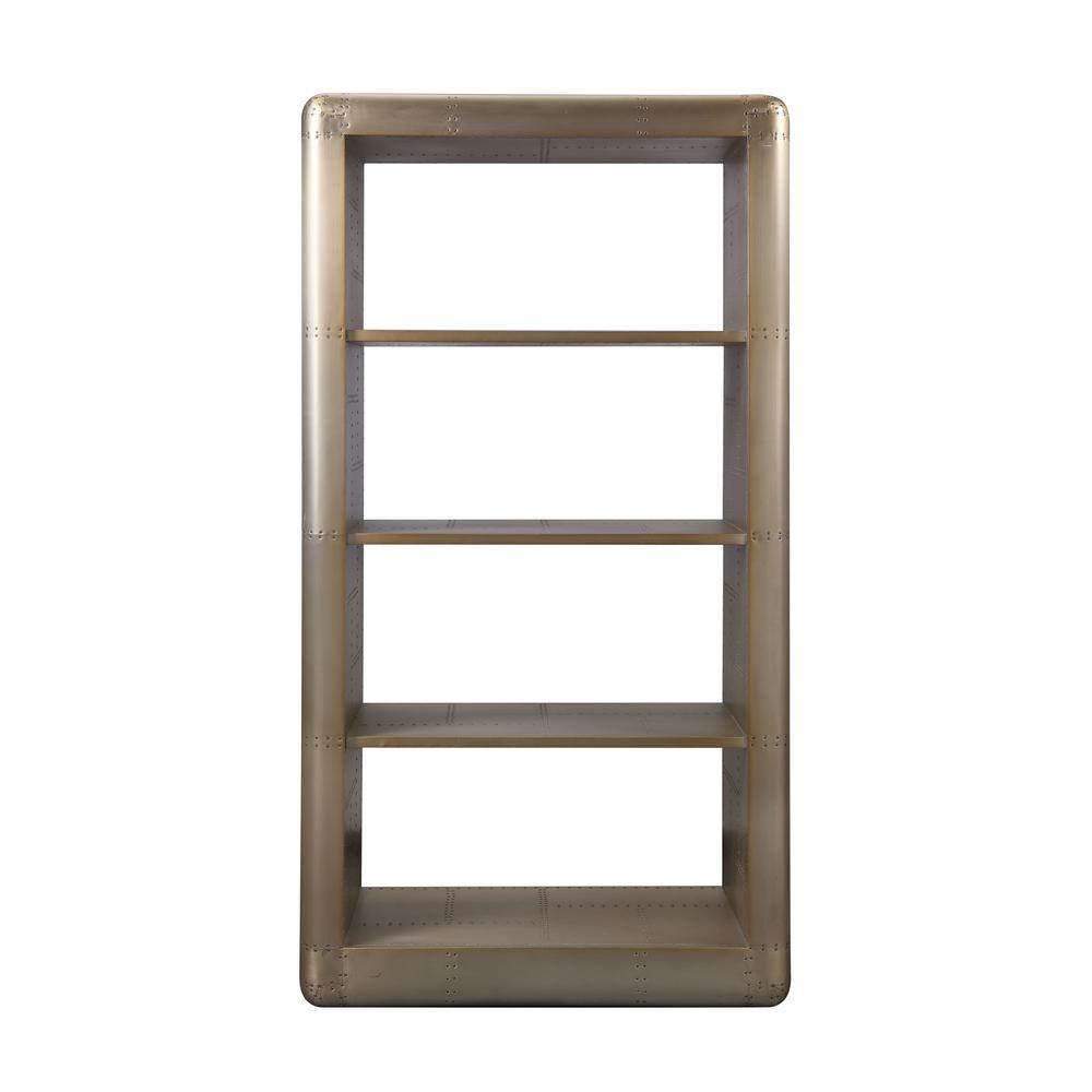 75 in. Gold Aluminum Metal 4-shelf Etagere Bookcase with Open Back