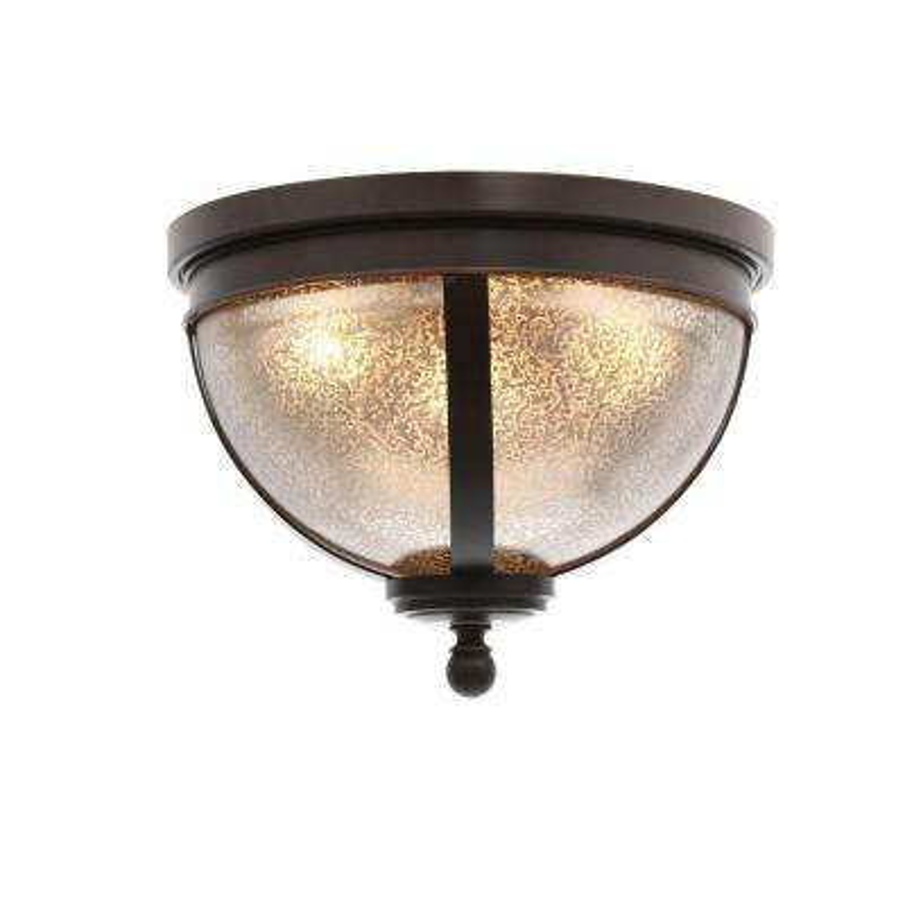 Sfera 3-Light Autumn Bronze Ceiling Flushmount with Mercury Glass